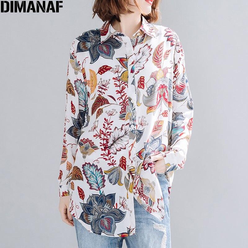 Dimanaf verão plus size mulheres blusa camisas praia elegante senhora topos túnica casual solto impressão floral manga comprida cardigan 2020