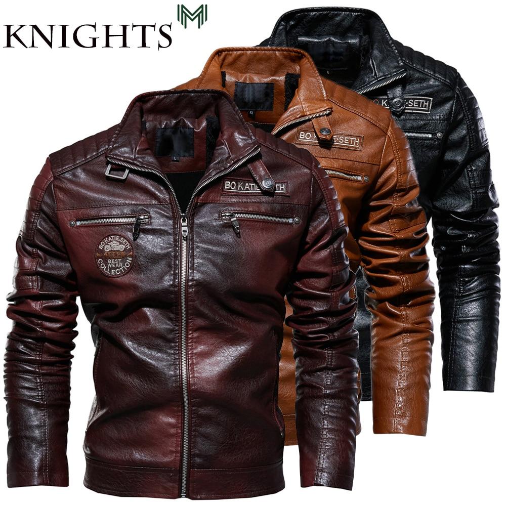 Street Knights Leather Jacket Men Winter Fleece Motorcycle Pu Leahter Jacket Male Stand Collar Casual Windbreaker Slim Coat 4Xl
