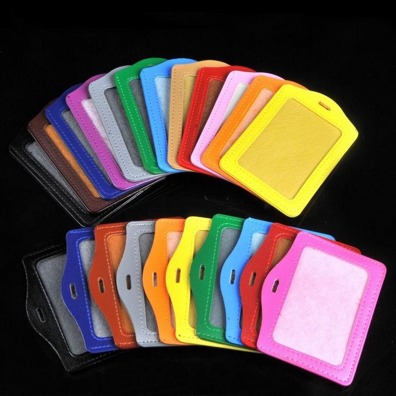 Nuevo 200 piezas surtido de Color PU de cuero ID Badge titular de la tarjeta Horizontal Vertical retráctil carrete llave Clip