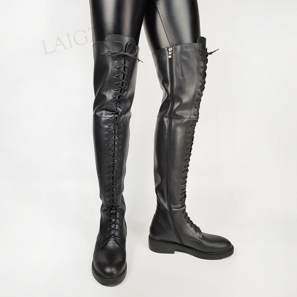 LAIGZEM جودة النساء فوق الركبة أحذية عالية واسعة Claf ودية كعوب منخفضة الأحذية زمم للجنسين أحذية امرأة بوتاس حجم 33 38 39 43