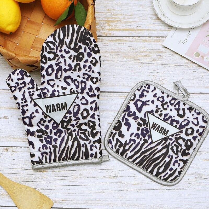 1 Juego de guantes aislantes para horno microondas de dos piezas de leopardo de cocina de alta temperatura de algodón guantes espesantes H11