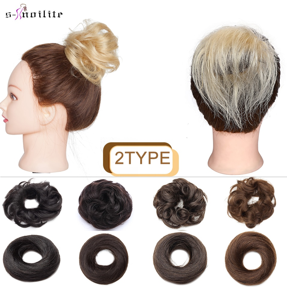 S-noilite 2Type Curly and Straight Human Chignon Donut Hairpiece Elastic Rubber Band Human Hair Bun Hair Pieces Hair Extension