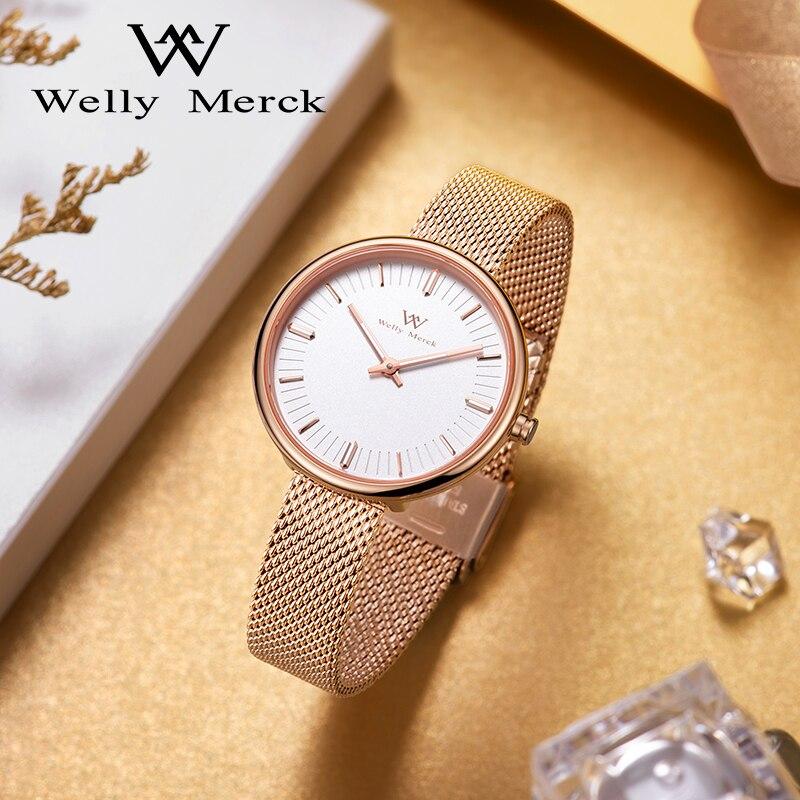 Welly Merck Top Brand Watches for Women Swiss Quartz Movement Waterproof Stainless Steel Case Ladies Watch relogio feminino 2021 enlarge