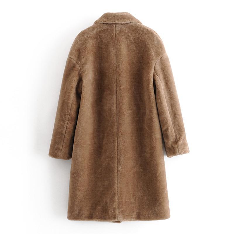 Wixra Womens Coat Ladies Faux Mink Fur Outwear Long Jacket Loose Street Style Warm Overcoat Autumn Winter