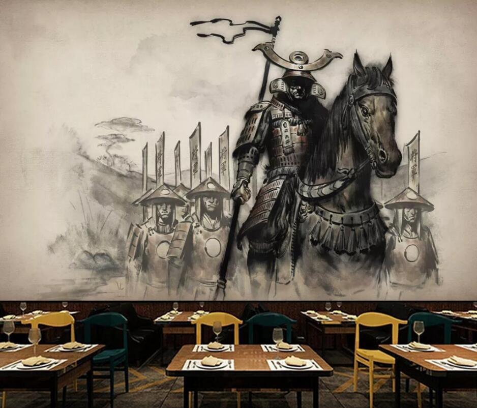 Papel tapiz de mural personalizado, Gran 3D mural, nuevo mural retro chino ukiyo-e, pintura de caballo samurai, herramientas para restaurante