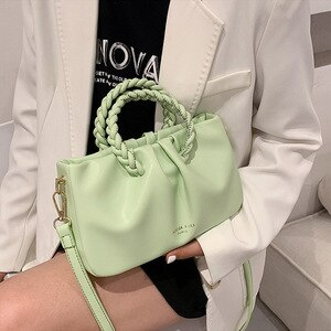 Weave Handle Design Female Handbags Fold Small PU Leather Shoulder Crossbody Bags For Women 2021 Fashion Lady Brand Clutch Purse