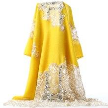 Spitze Dame Schals Haar Schal Cachecol Feminino Wolle Mischung Wrap Weich Tasche Schals Oversize Gelb Mujer Bufanda Winter Warme Pashmin