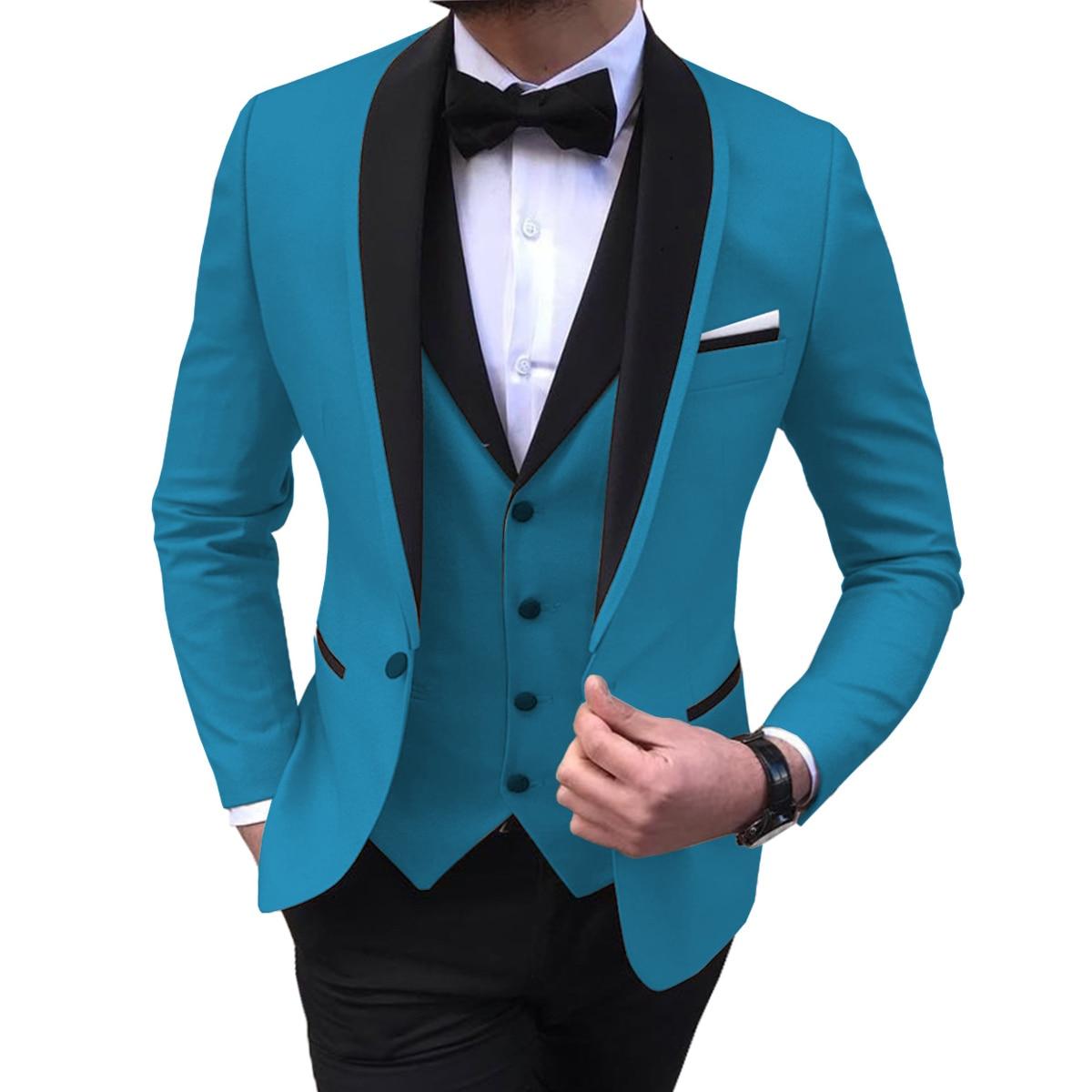 Blue Slit Mens Suits 3 Piece Black Shawl Lapel Casual Tuxedos for Wedding Groomsmen Suits Men 2020 (Blazer+Vest+Pant)