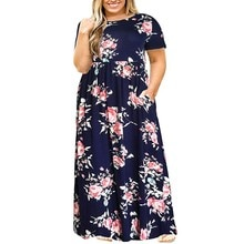 2019 Hot Sales Women O-Neck Long Sleeve Long Summer Casual Dress Plus Size 7XL 8XL 9XL Vintage Maxi Dress With Pockets #LR1