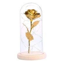 Folha de ouro com luz led para dia dos namorados, rosa floral feita de vidro com luz led para preservar a beleza do dia dos namorados novo 2020