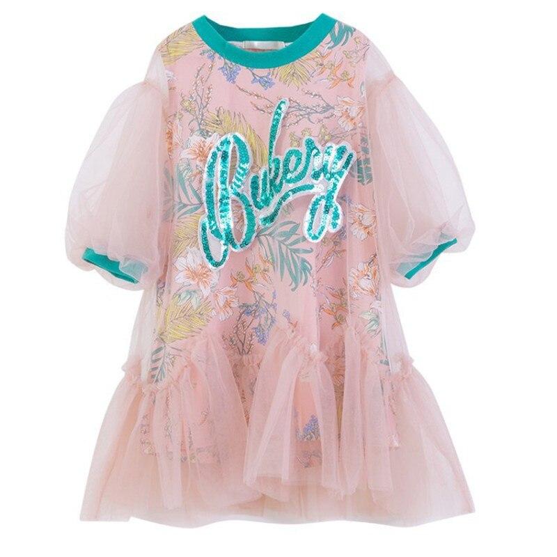 2020 summer new girl cartoon short-sleeved dress little round neck letter mesh sleeve cotton
