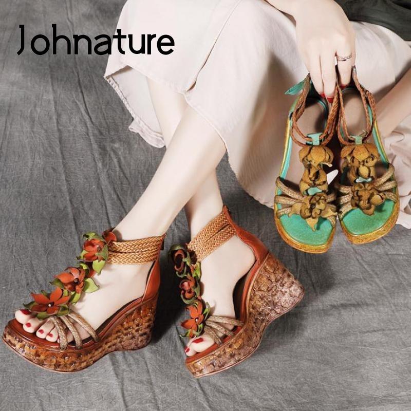 Johnature High Heels Sandals Genuine Leather Women Shoes 2020 New Summer Retro Zip Wedges Casual Flower Platform Ladies Sandals