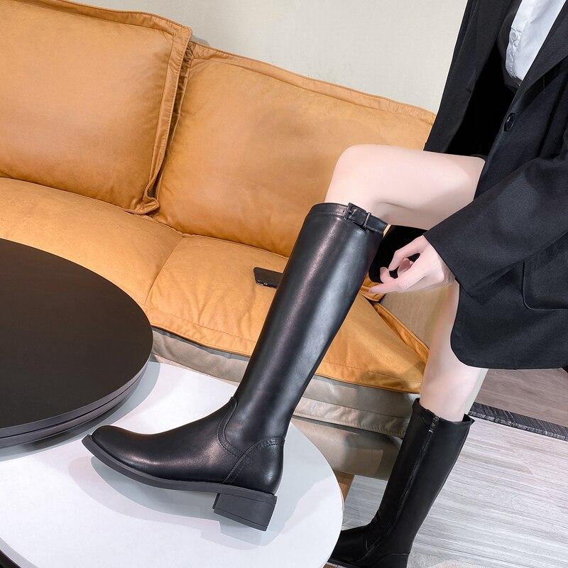 JINJIN-52-1-Damskie buty do kolan buty ze skry naturalnej 22-25 cm dugo 6.5cm obcas skra bydlca zamek jesienne i zimowe