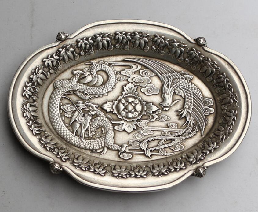 Dragão de prata e placa de phoenix palácio da dinastia chinesa tibete