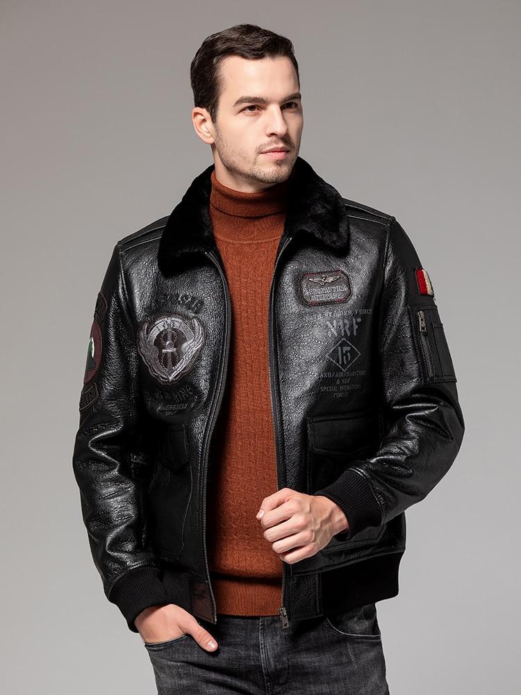 Free shipping.B3 style genuine leather jacket.Natural sheep fur coat,winter warm sheepskin clothing.soft shearling bomber motor