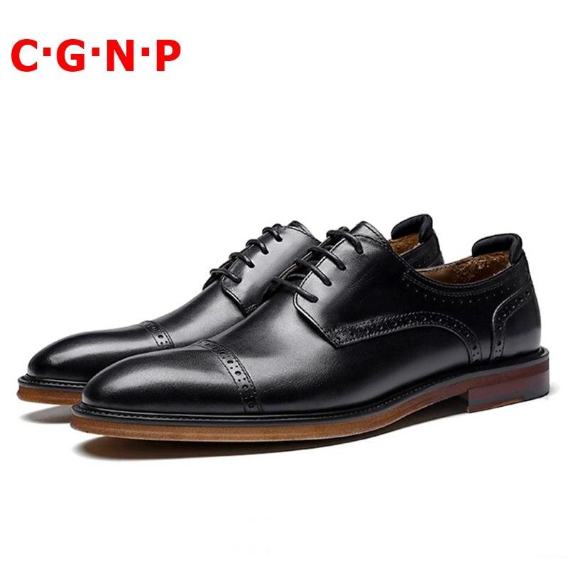 Купить с кэшбэком CGNP Classic Goodyear Genuine Leather Retro Men Dress Shoes Brown Brogue Lace-up Derby Formal Shoes Mens Wedding Shoes