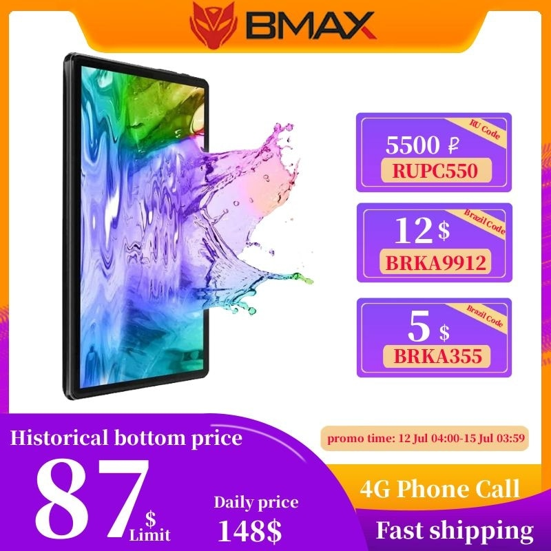 BMAX i10 10.1Android 10 phone call Tablet 1920x1080 T610 Octa Core 4GB RAM 64GB ROM 4G Network Type-c port Tablets PC Dual Wifi