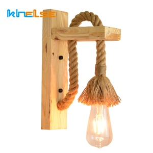 Industrial Retro Hemp Rope E27 Wall Lamp Bedside Kitchen Vintage LED Sconces Stair Balcony Home Decor Wood Wall Mounted Lighting