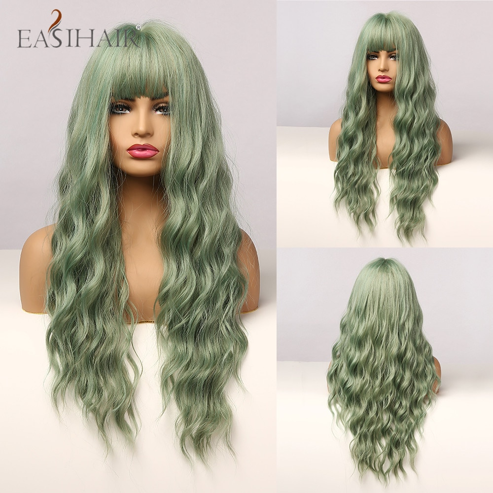 EASIHAIR Long Mix Green Water Wave Synthetic Wigs for Women Lolita Cospaly Colorful Wig With Bangs Party Heat Resistant Fibre