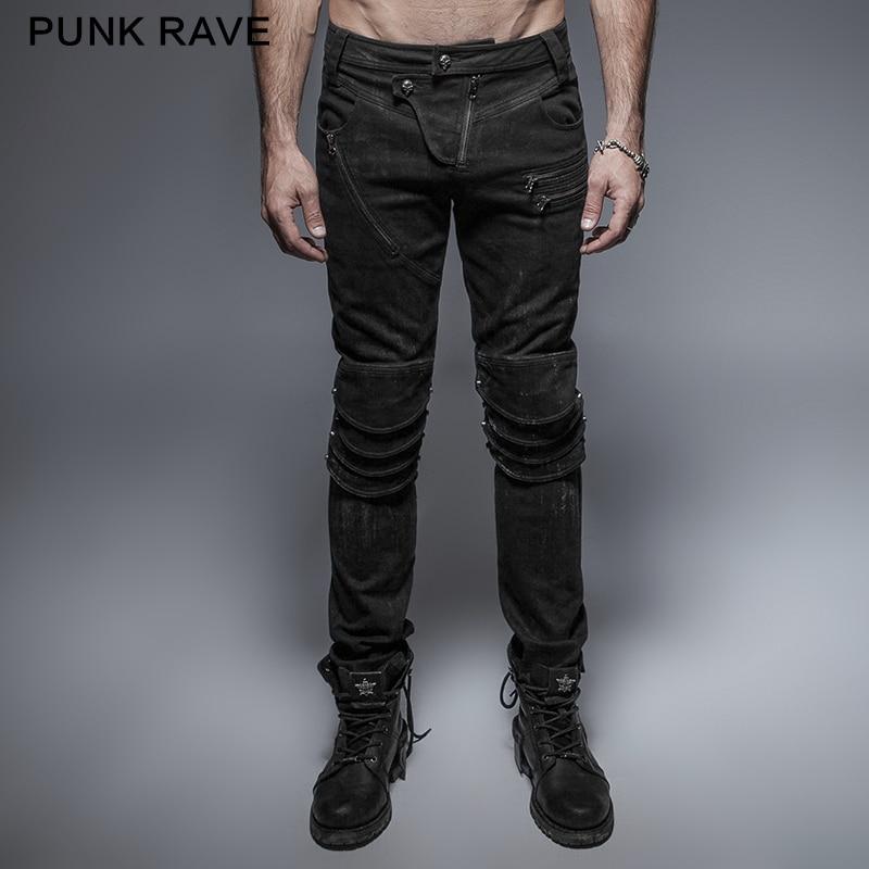 سراويل بانك الهذيان الشرير الصخرة البصرية Kei سوداء طويلة السحاب الديكور بنطلون أزياء غير رسمية المجهزة درع الركبة رجل جينز