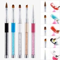 1pcs nail brush rhinestone acrylic pen carving nail art tips painting poly nail gel tool liner manicure accessories tool set