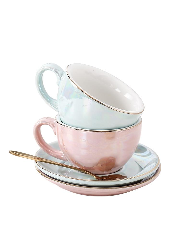 Juego de platillos Taza de Café de Cerámica Taza de cerámica Royal Bone China taza de té de cerámica Tazzine Caffe Latte tazas de café Nordic Cup HH50BD
