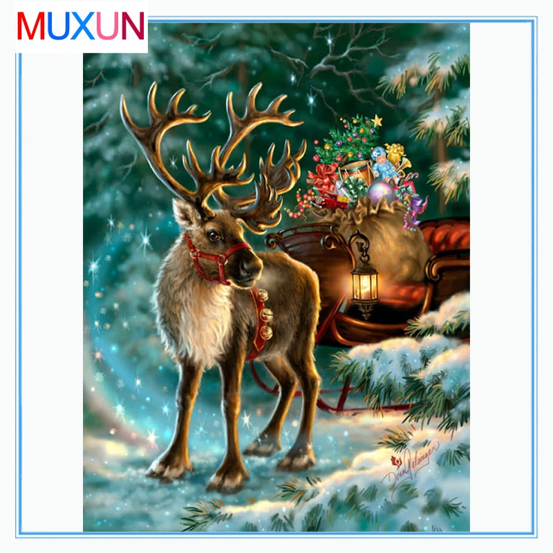 Full Square / Round Drill 5D Diy Diamond Painting Deer Christmas New 3D Diamond Embroidery Cross Stitch 5D Home Decor Gift Lx774