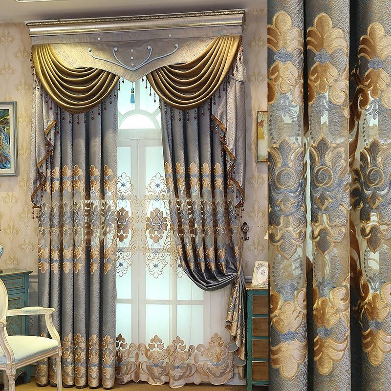 النمط الأوروبي الستائر لغرفة المعيشة غرفة الطعام غرفة نوم الشنيل الستائر المطرزة الستارة المنتج النهائي التخصيص