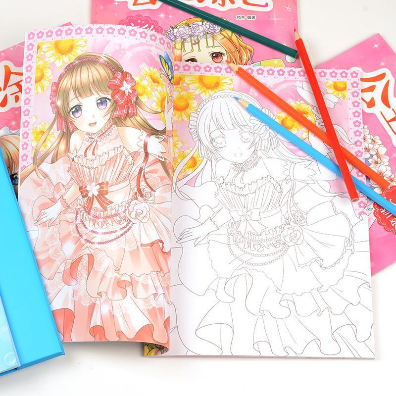 4 Coloring Books For Kids Painting Drawing Colour Book Elegant Lovely Beauty Princess Girls Manga Anime Sketch Children Toy