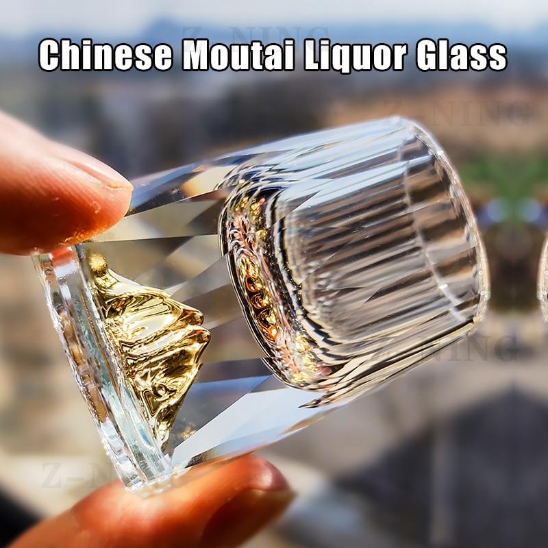 Crystal Glass 15ml Shot Glass Family Dinner Gold Foil Spirit Glass Tequila/vodka/Chinese Moutai Glass Bar Party Bullet Glass 24k