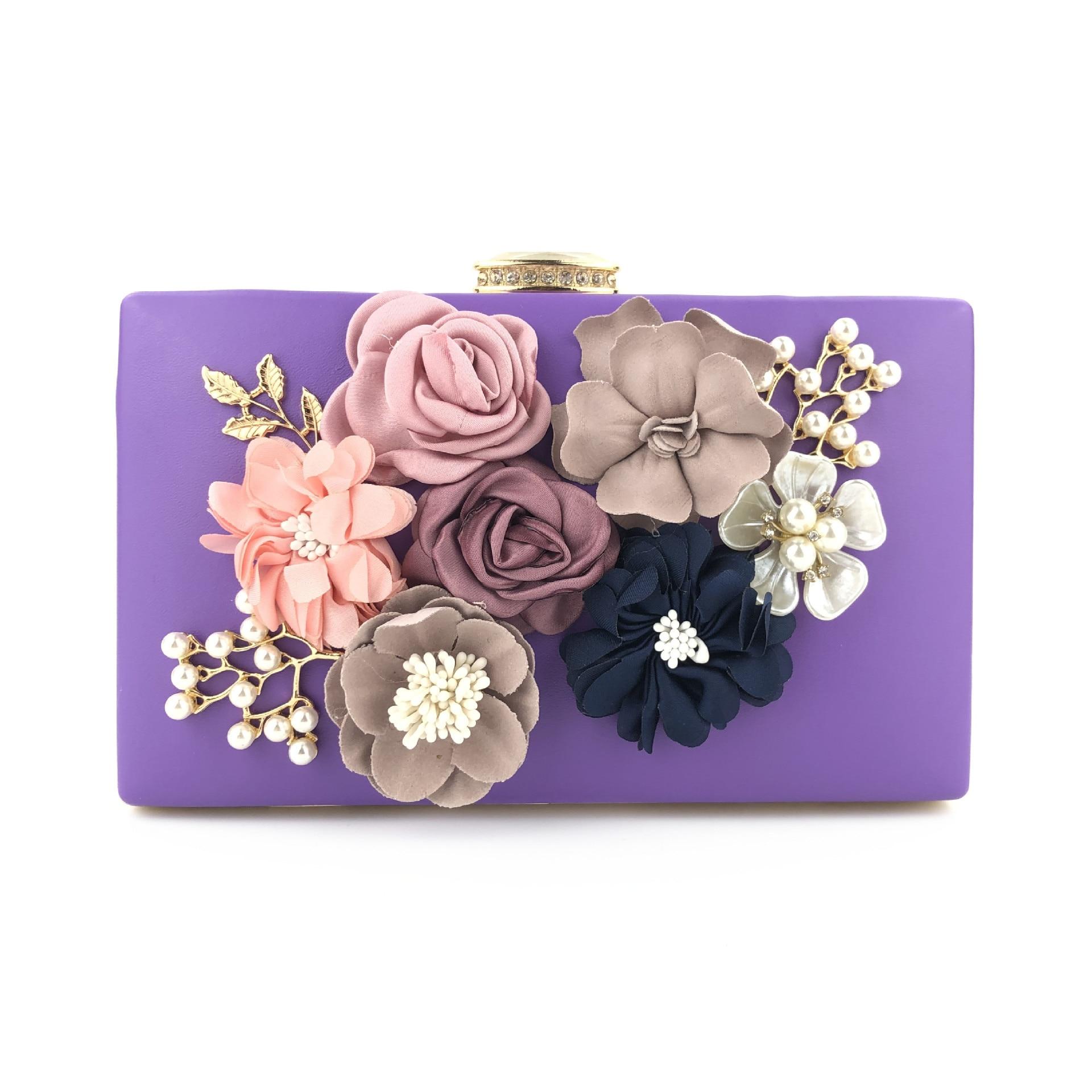 XIYUAN-Bolso de noche con flores para Mujer, Cartera de mano femenina con...