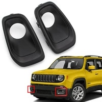 black auto front bumper fog lights lamp cover decoration for 2015 2017 jeep renegade abs plastic