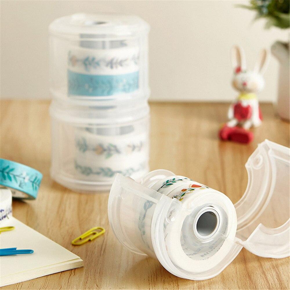 Dispensador de cinta plástica transparente Washi, soporte para cinta adhesiva, caja de almacenamiento de cinta adhesiva, organizador de escritorio, suministros para escuela y oficina 1 unidad