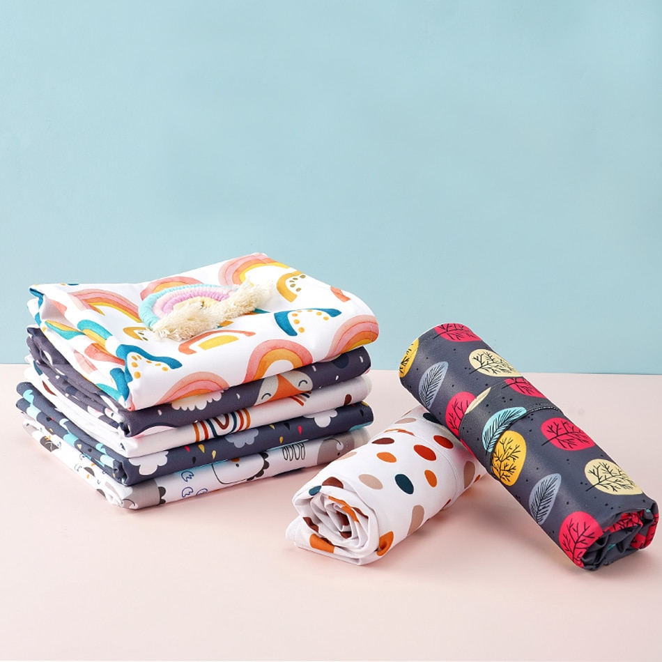 Happy Flute 2Pcs/Set Washable Diaper Changing Mat Portable Nappy Pad Waterproof Cover Mattress for Baby