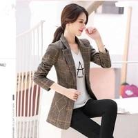 cotton no cotton autumn top korean plaid casual womens blazer coat womens thickened cotton coat
