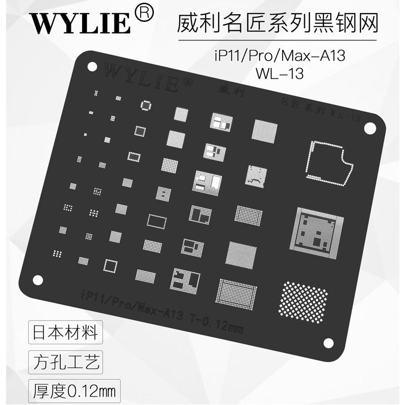 WL-13 Black Stencil for iPhone 11/Pro/Max BGA Stencil Reball A13 CPU RAM Nand Flash IC Chip Pins Solder Tin Plant Net 0.12mm