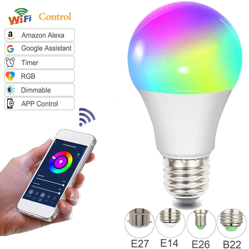new e27 rgbw led lamp wifi smart light bulb 7w dimmable multicolor wake up lights compatible with alexa and google assistant Dimmable 10W B22 E27 WiFi Smart Light Bulb LED Lamp App Operate Alexa Google Assistant Control Wake up Smart Lamp Night Light