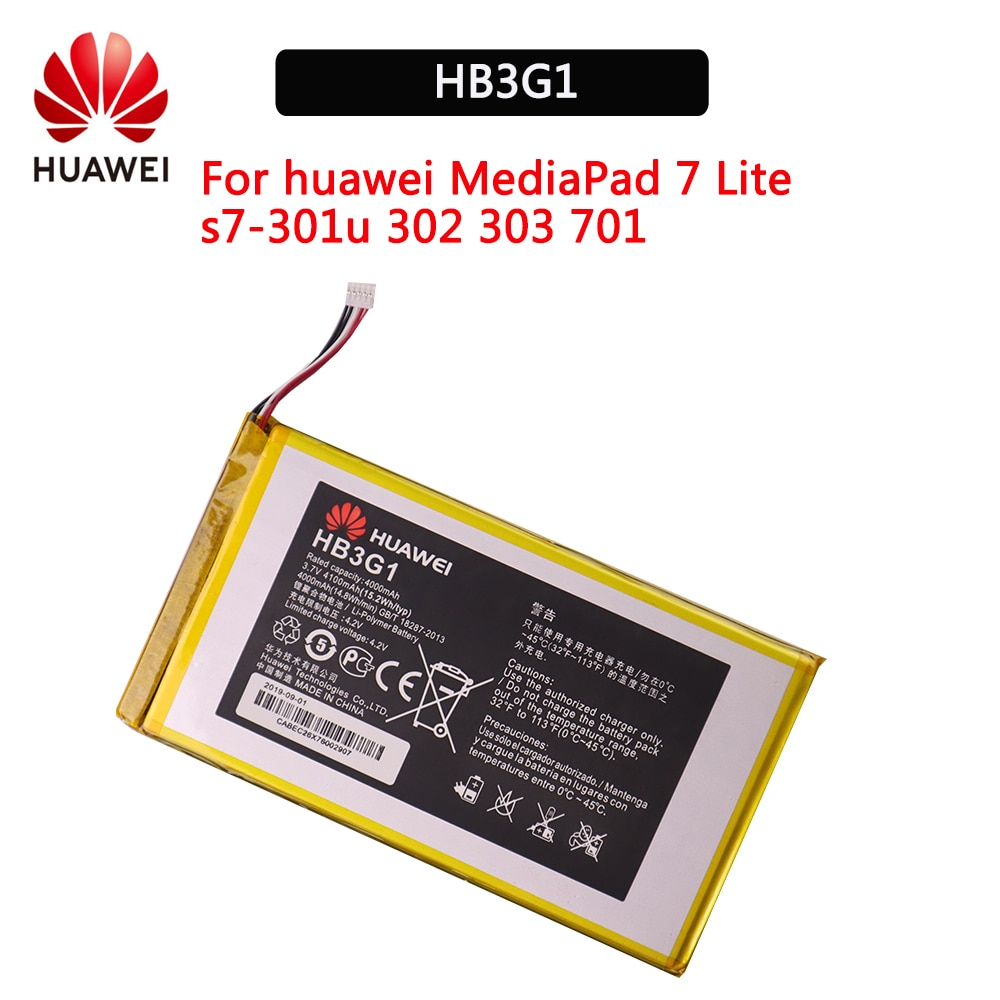 Batería 100% Original HB3G1 4000mAh para Huawei MediaPad S7-303 S7-931 T1-701u MediaPad 7 Lite S7-301w s7-301u