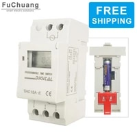 free shipping electronic weekly 7 days programmable digital industrial time switch relay thc15a e with no 7 battery timer