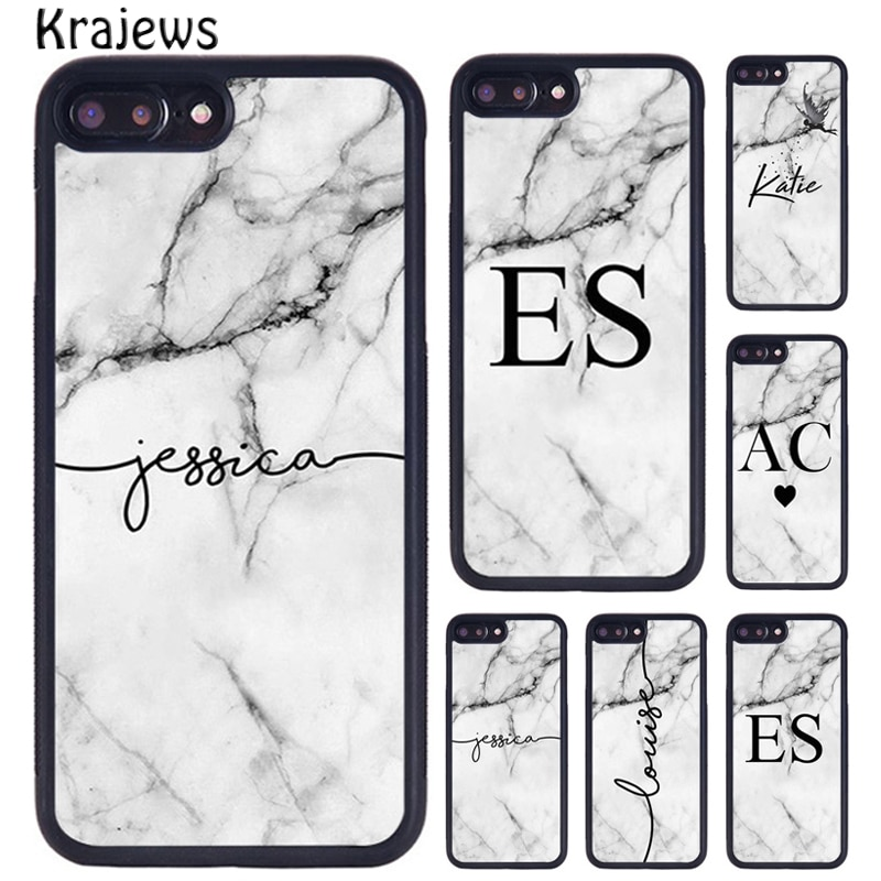 Krajews personalizado gris mármol iniciales del nombre caso personalizado para iPhone X XR XS 11 Pro MAX 5 se 6 6S 7 7 8 Plus Samsung S7 S8 S9 S10