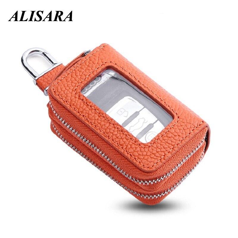 Кожаный кошелек для автомобильных ключей для женщин, Популярная Корейская Повседневная сумка для двух автомобильных ключей, чехол для ключ...