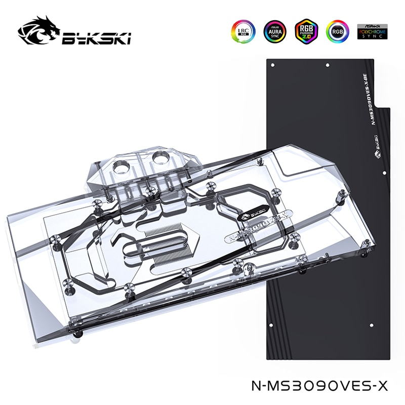 مبرد الماء Bykski لـ MSI Geforce RTX 3080 3090 VENTUS 3X 10G OC مع اللوحة الخلفية ، غطاء كامل كتلة المياه ، N-MS3090VES-X