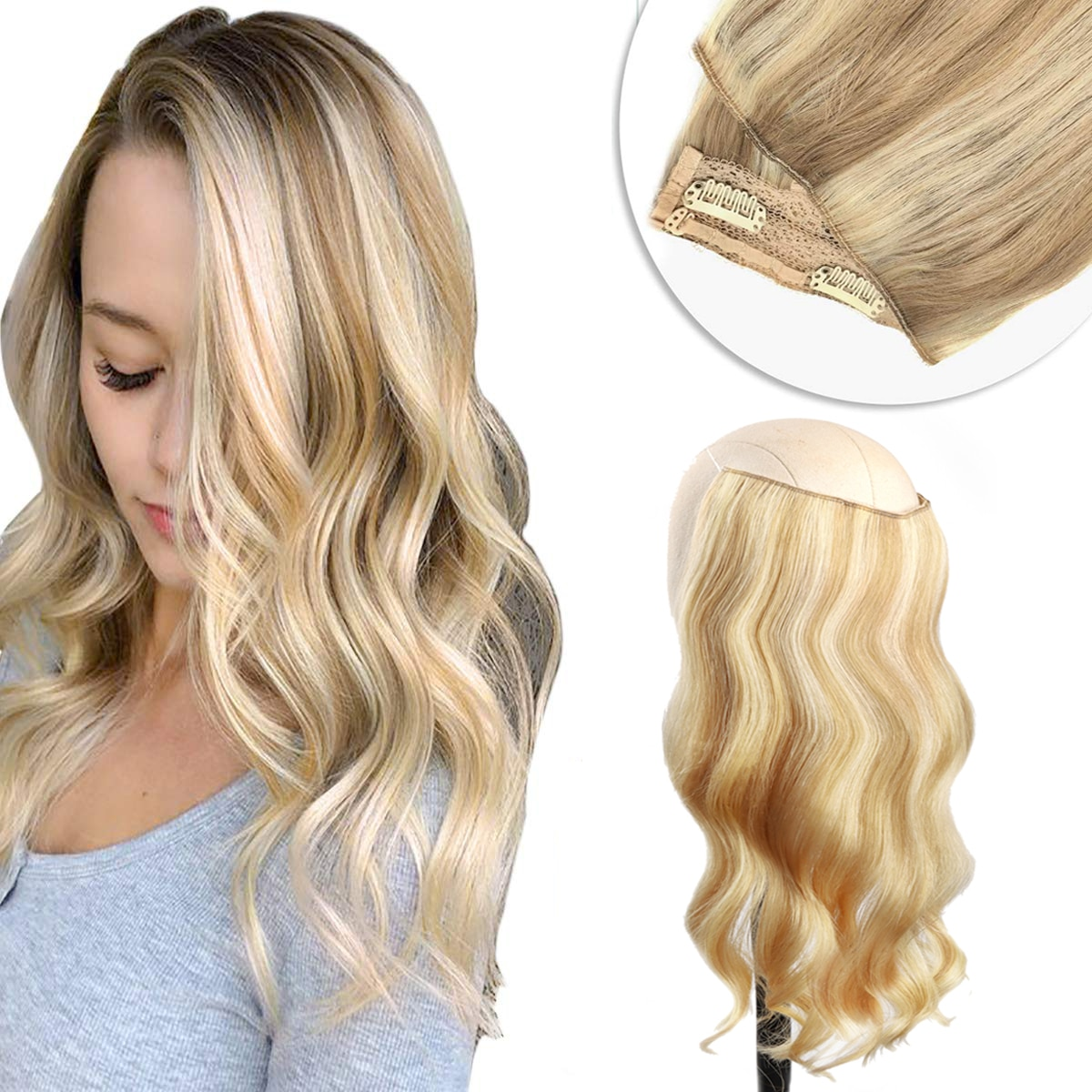 Invisible Halo Hair Extensions Straight Hair Pieces Piano Natural Black to Light Brown Honey Blonde Ombre Halo Hair Extensions