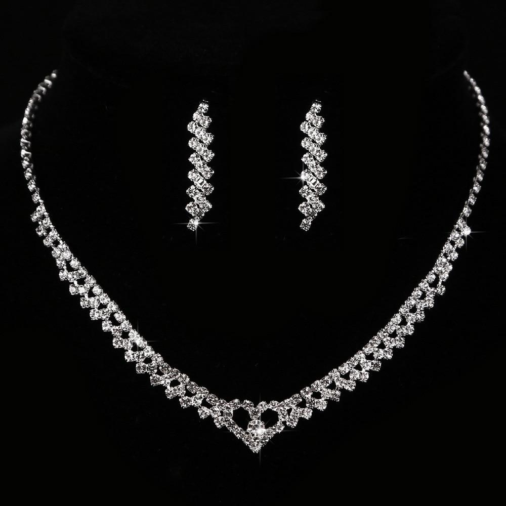 Cشو180 موضة الخوخ القلب الزفاف لامعة كريستال الزركون مجوهرات 2 قطعة مجموعة قلادة طقم من الحلقان سلسلة مجموعة