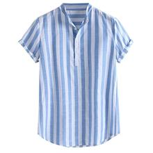 Mens Striped Cotton Linen Henry Colla Loose Short Sleeve Casual Buttons Shirt Loose Men's Slim Fit S