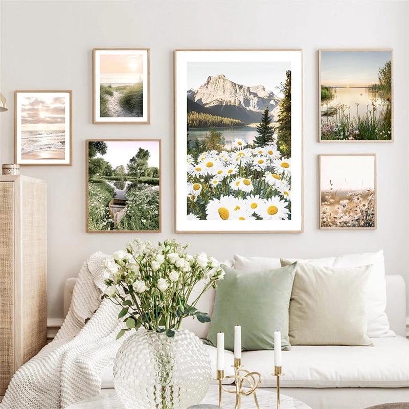 Скандинавская Картина на холсте настенное искусство морской пейзаж, плакат и печать современной природы, пейзаж с цветком Настенная картин...