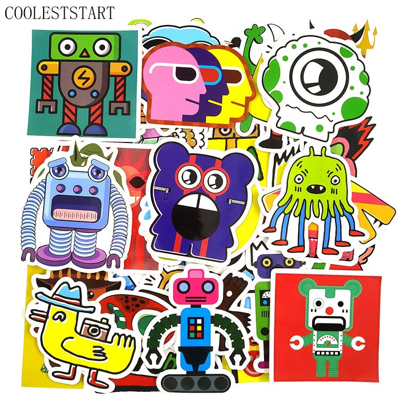 50 sztuk/zestaw Monster Doodle naklejki śmieszne naklejki Graffiti na lodówkę bagaż Laptop motocykl deskorolka rower Anime Stickes