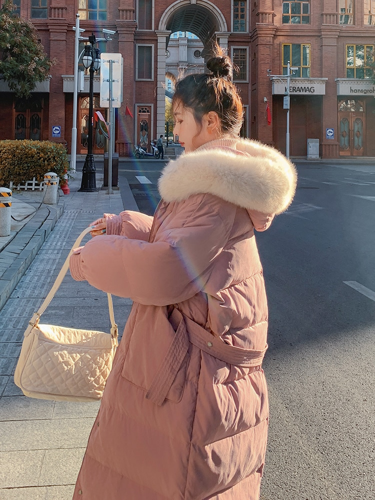 Down Parka Pink Gentle Down Cotton Padded Jacket Women's Winter Middle and Long Korean Loose Large W