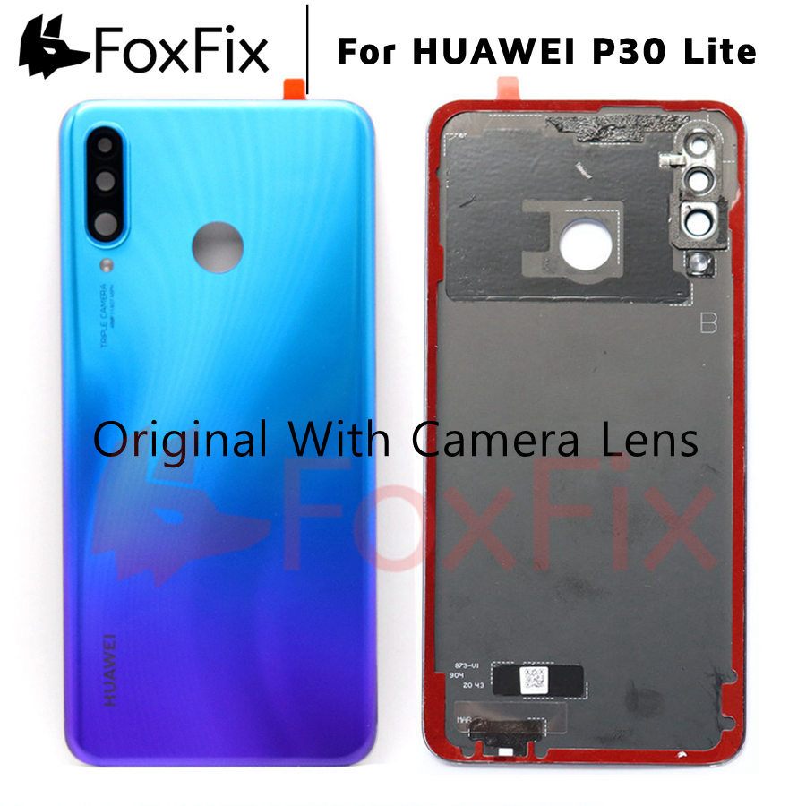 AliExpress - Original For Huawei P30 Lite Back Battery Cover Nova 4e Rear Housing Glass Door For Huawei P30 Lite Battery Cover+Camera Lens