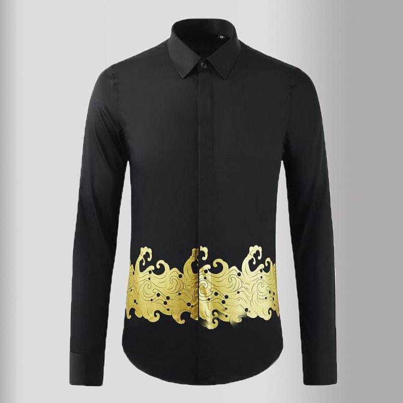 Minglu-قمصان سوداء للرجال ، قمصان فاخرة بأكمام طويلة ، طباعة ذهبية ، قمصان غير رسمية ، جودة عالية ، نحيفة ، ملابس سهرة ، 3XL